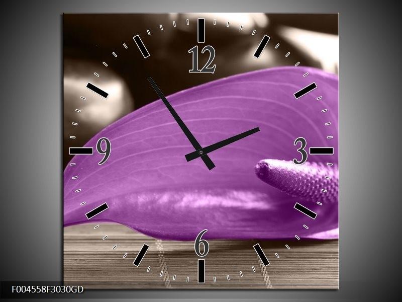 Wandklok op Glas Blad | Kleur: Paars, Grijs | F004558CGD