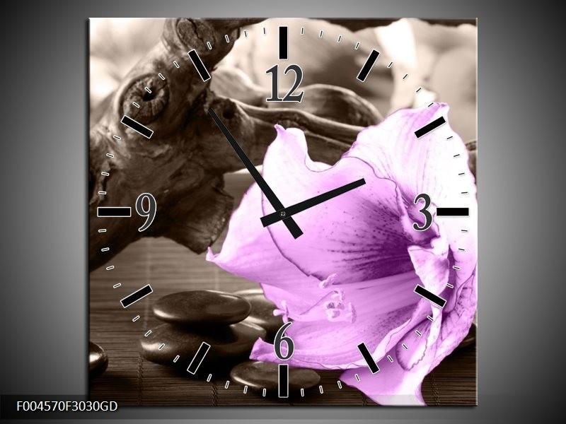 Wandklok op Glas Orchidee | Kleur: Paars, Grijs | F004570CGD