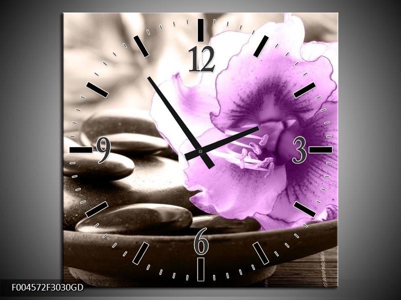 Wandklok op Glas Orchidee | Kleur: Paars, Grijs | F004572CGD