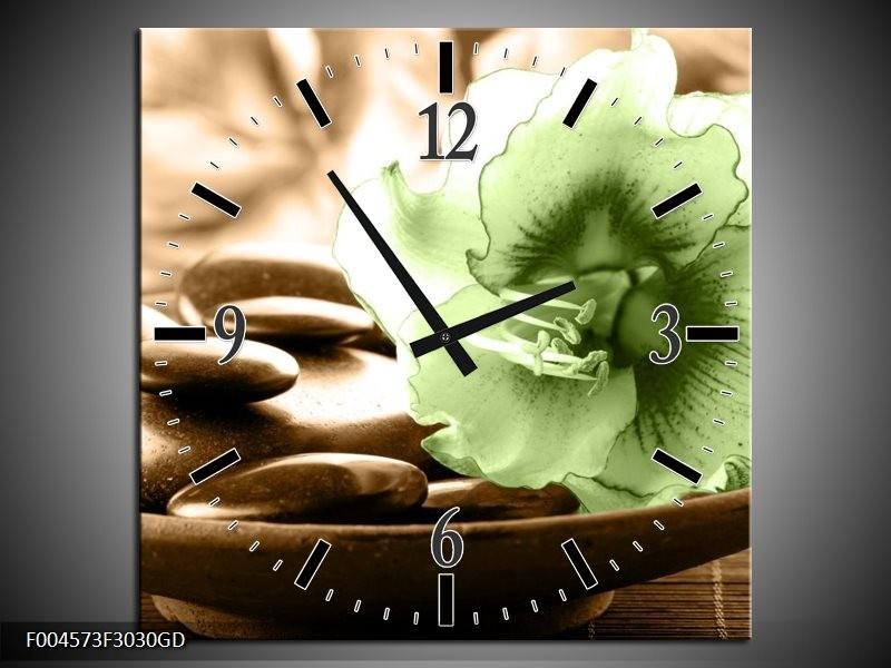 Wandklok op Glas Orchidee | Kleur: Groen, Bruin | F004573CGD