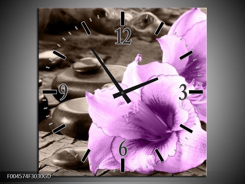 Wandklok op Glas Orchidee | Kleur: Paars, Grijs | F004574CGD