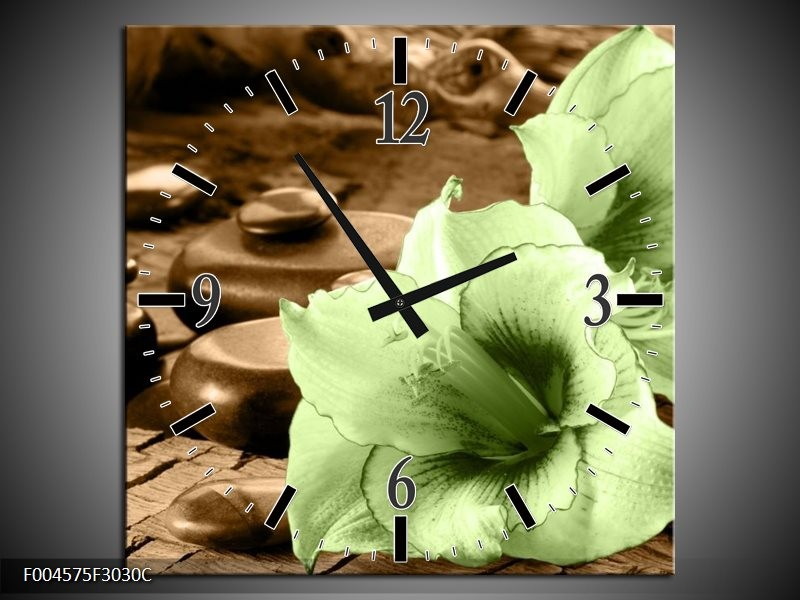 Wandklok op Canvas Orchidee | Kleur: Groen, Bruin | F004575C