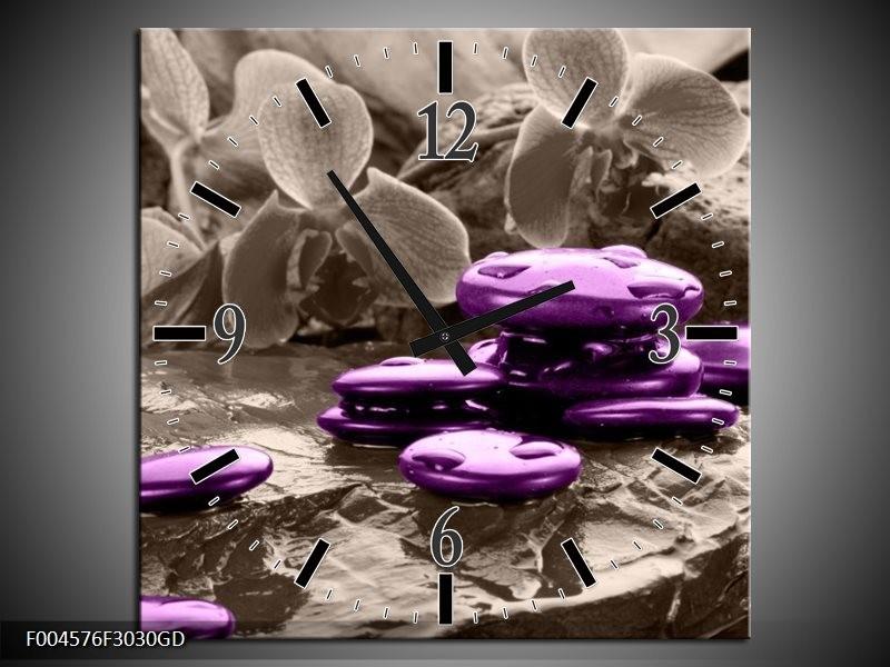 Wandklok op Glas Orchidee | Kleur: Paars, Grijs | F004576CGD