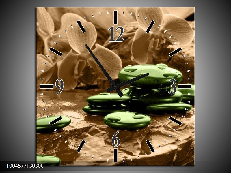 Wandklok op Canvas Orchidee | Kleur: Groen, Bruin | F004577C