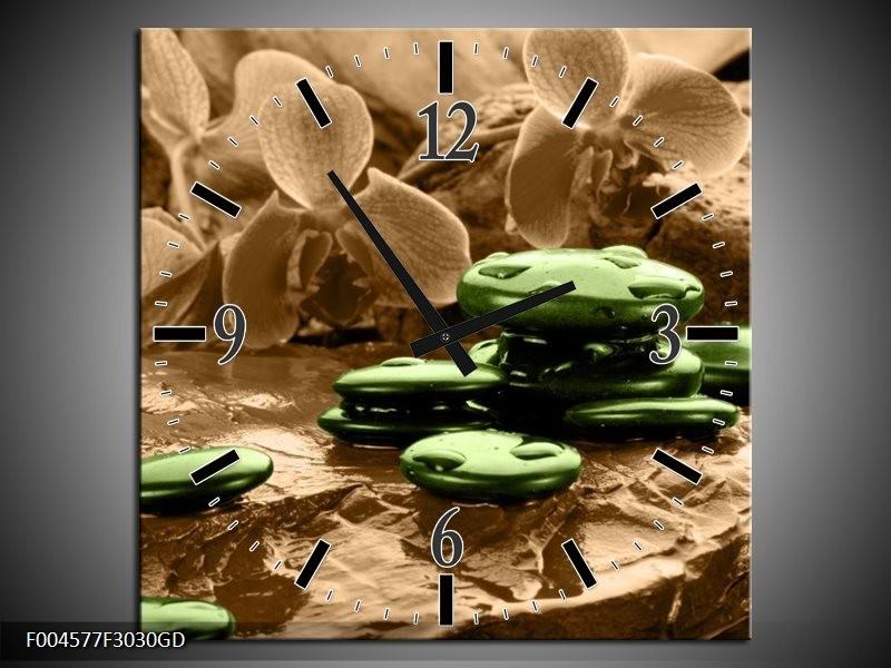 Wandklok op Glas Orchidee | Kleur: Groen, Bruin | F004577CGD