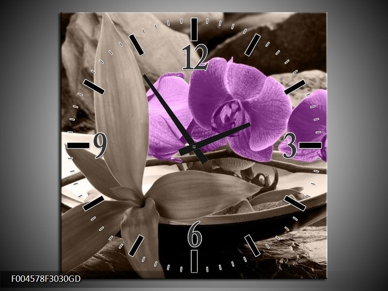 Wandklok op Glas Orchidee | Kleur: Paars, Grijs | F004578CGD