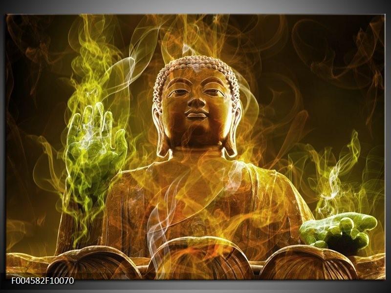 Glas schilderij Boeddha | Bruin, Groen
