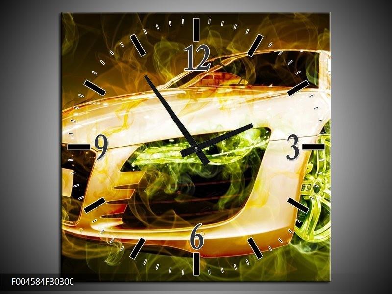 Wandklok op Canvas Audi | Kleur: Bruin, Groen | F004584C