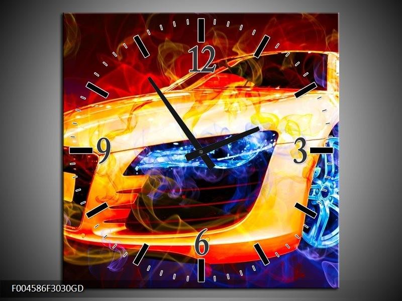 Wandklok op Glas Audi | Kleur: Rood, Blauw, Rood | F004586CGD