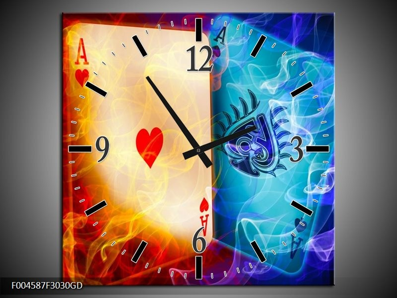Wandklok op Glas Spel | Kleur: Rood, Blauw, Rood | F004587CGD