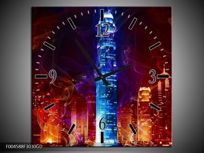 Wandklok op Glas Modern | Kleur: Rood, Blauw, Rood | F004588CGD