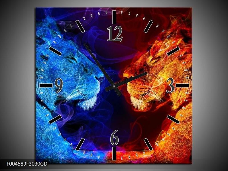 Wandklok op Glas Leeuw   Kleur: Rood, Blauw, Rood   F004589CGD