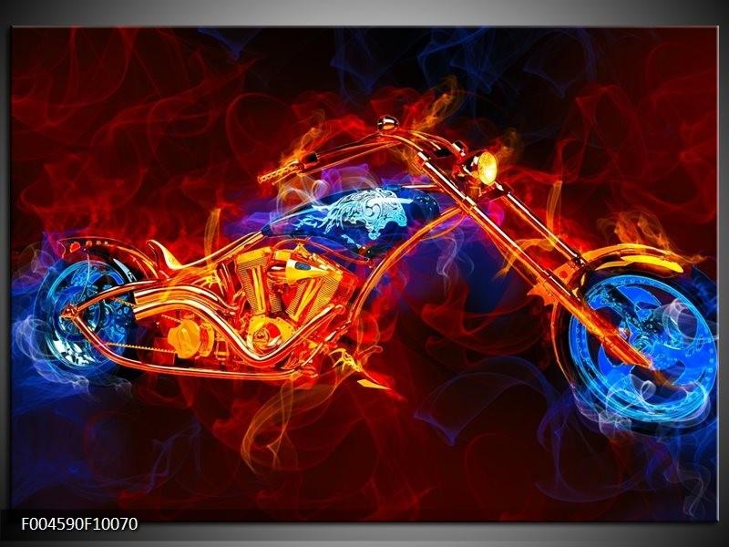 Glas schilderij Motor   Rood, Blauw, Rood