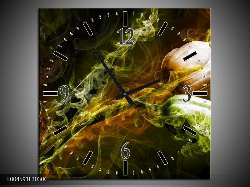 Wandklok op Canvas Tulp | Kleur: Groen, Geel, Zwart | F004591C