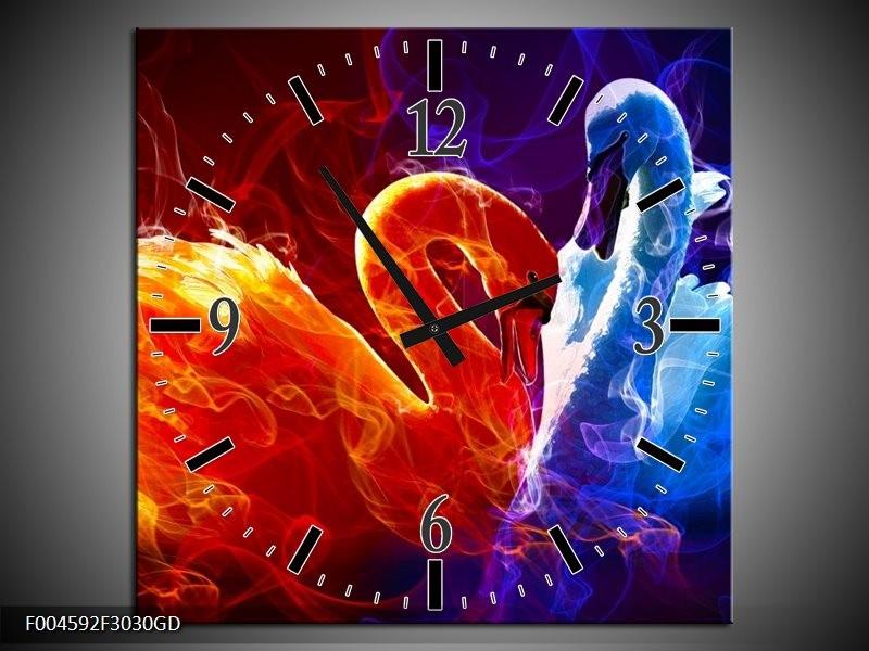 Wandklok op Glas Zwanen   Kleur: Rood, Blauw, Rood   F004592CGD
