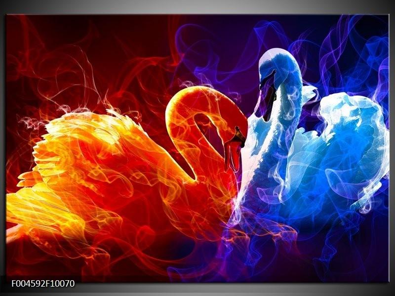 Glas schilderij Zwanen | Rood, Blauw, Rood