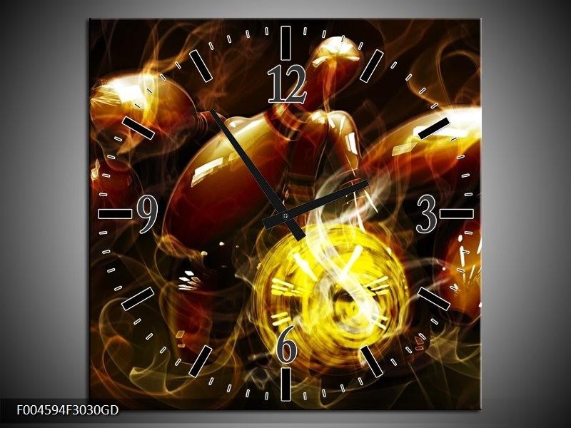 Wandklok op Glas Spel | Kleur: Bruin, Geel, Zwart | F004594CGD