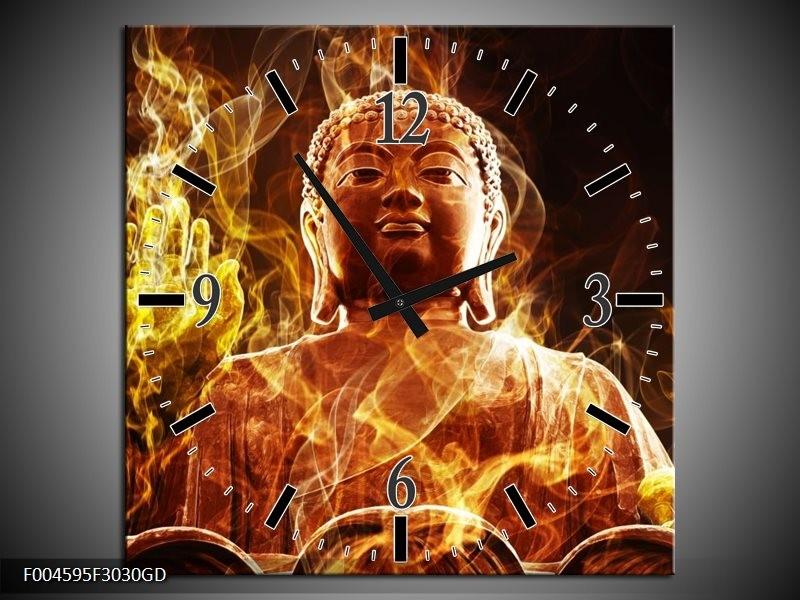 Wandklok op Glas Boeddha | Kleur: Bruin, Geel, Zwart | F004595CGD