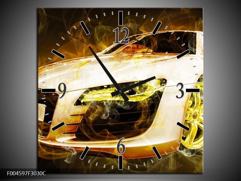 Wandklok op Canvas Audi   Kleur: Geel, Wit, Groen   F004597C