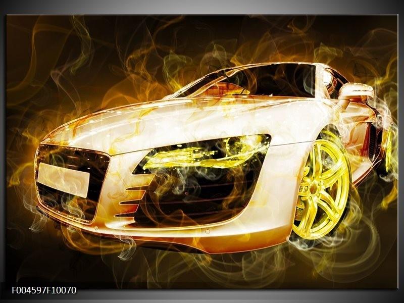 Glas schilderij Audi | Geel, Wit, Groen