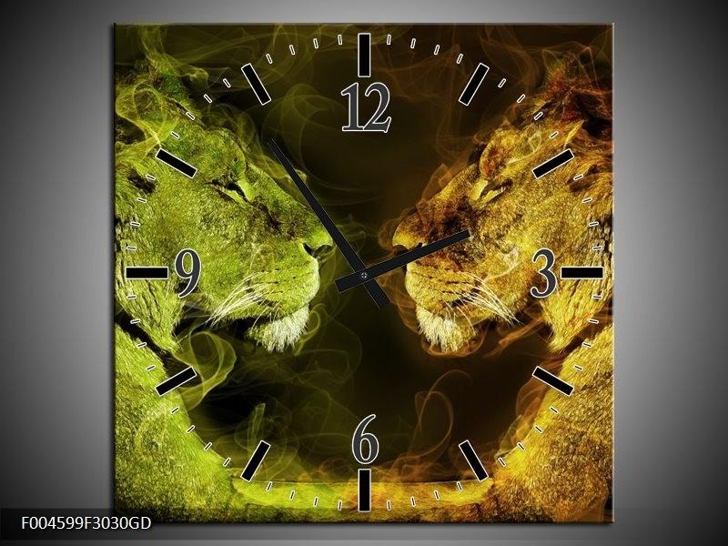 Wandklok op Glas Leeuw | Kleur: Geel, Wit, Groen | F004599CGD