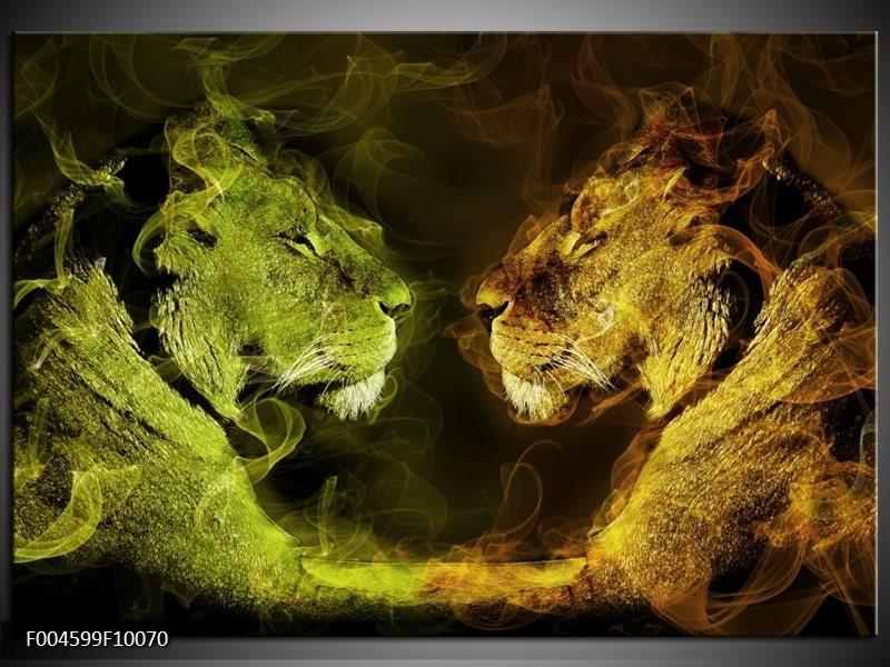 Glas schilderij Leeuw | Geel, Wit, Groen