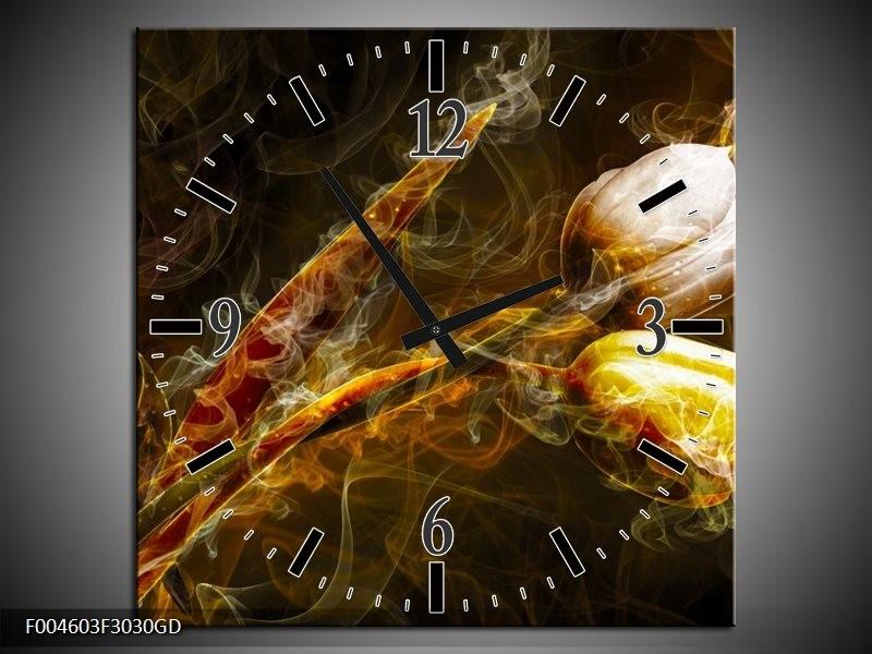Wandklok op Glas Tulp | Kleur: Geel, Wit, Groen | F004603CGD