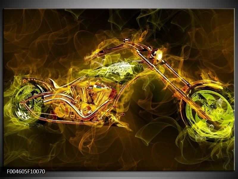 Glas schilderij Motor | Geel, Wit, Groen