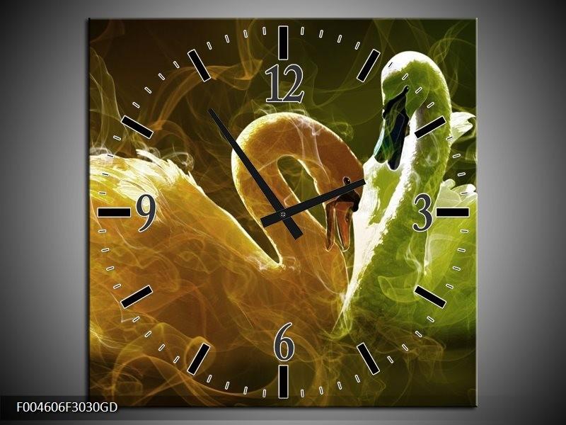 Wandklok op Glas Zwaan | Kleur: Geel, Wit, Groen | F004606CGD