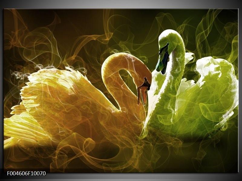 Glas schilderij Zwaan   Geel, Wit, Groen
