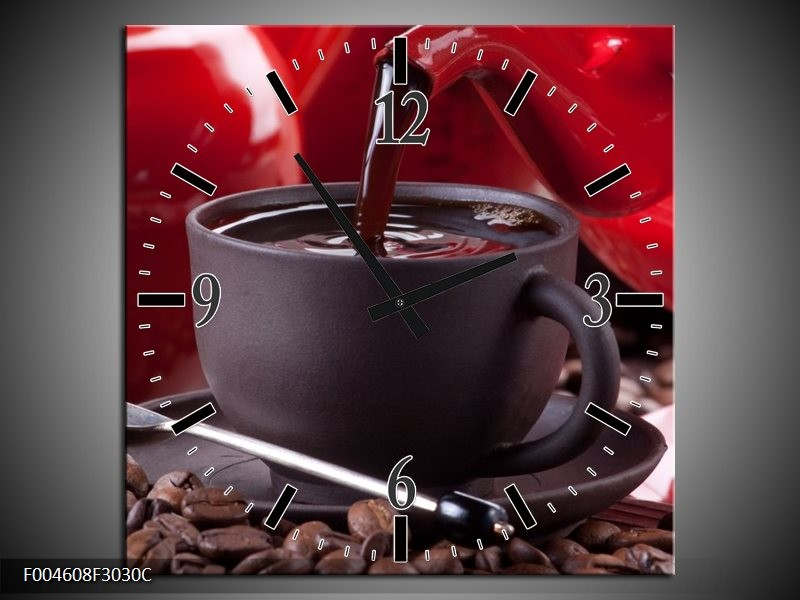 Wandklok op Canvas Koffie | Kleur: Rood, Bruin, Wit | F004608C