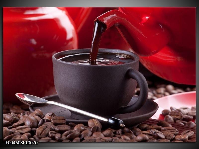Glas schilderij Koffie   Rood, Bruin, Wit