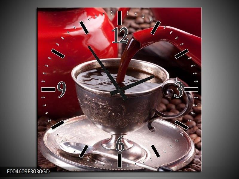 Wandklok op Glas Koffie   Kleur: Rood, Bruin, Wit   F004609CGD