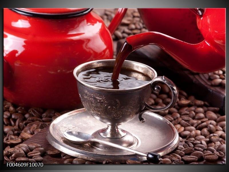 Glas schilderij Koffie | Rood, Bruin, Wit
