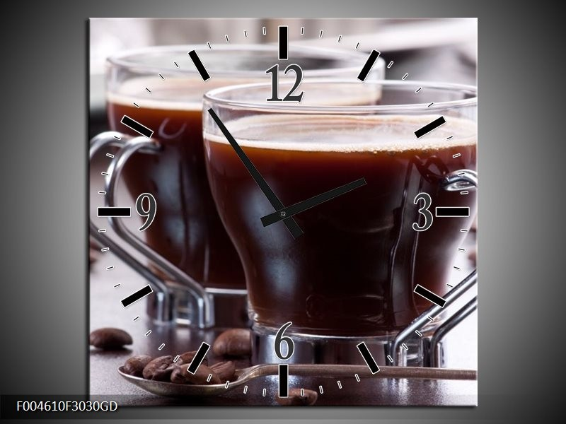 Wandklok op Glas Koffie | Kleur: Bruin, Wit | F004610CGD