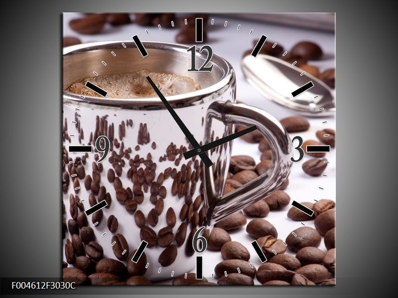 Wandklok op Canvas Koffie | Kleur: Bruin, Wit | F004612C