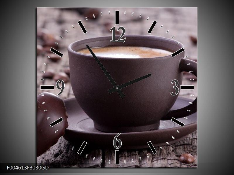 Wandklok op Glas Koffie | Kleur: Bruin, Wit | F004613CGD
