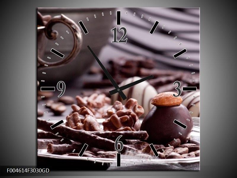 Wandklok op Glas Koffie | Kleur: Bruin, Wit | F004614CGD