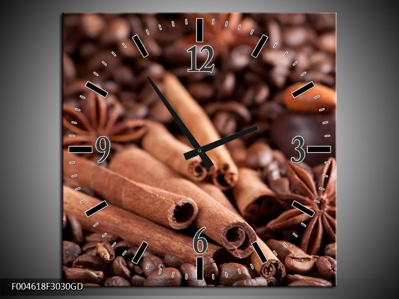 Wandklok op Glas Koffie | Kleur: Wit, Bruin | F004618CGD