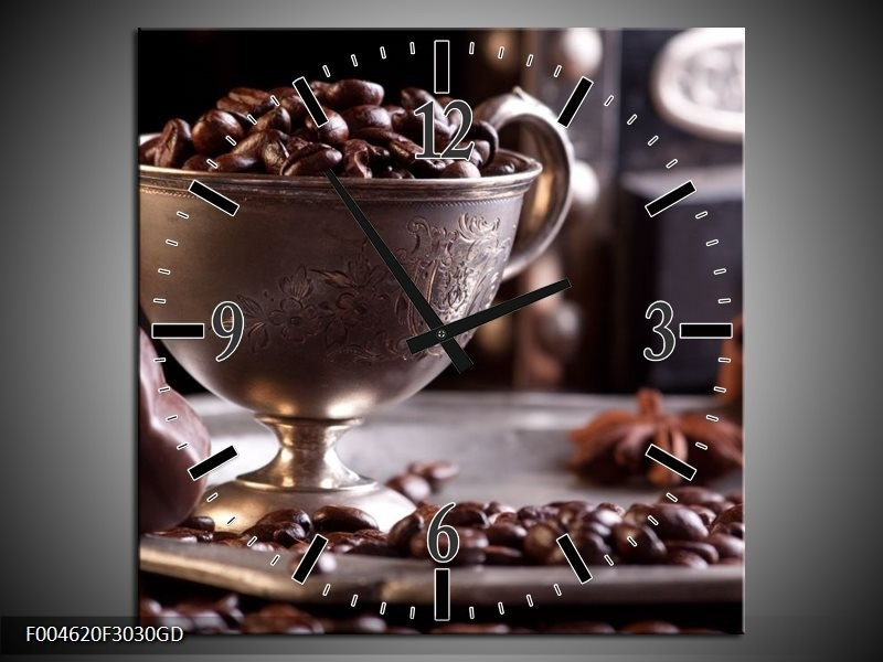 Wandklok op Glas Koffie   Kleur: Wit, Bruin   F004620CGD