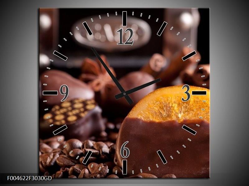 Wandklok op Glas Koffie | Kleur: Wit, Bruin | F004622CGD