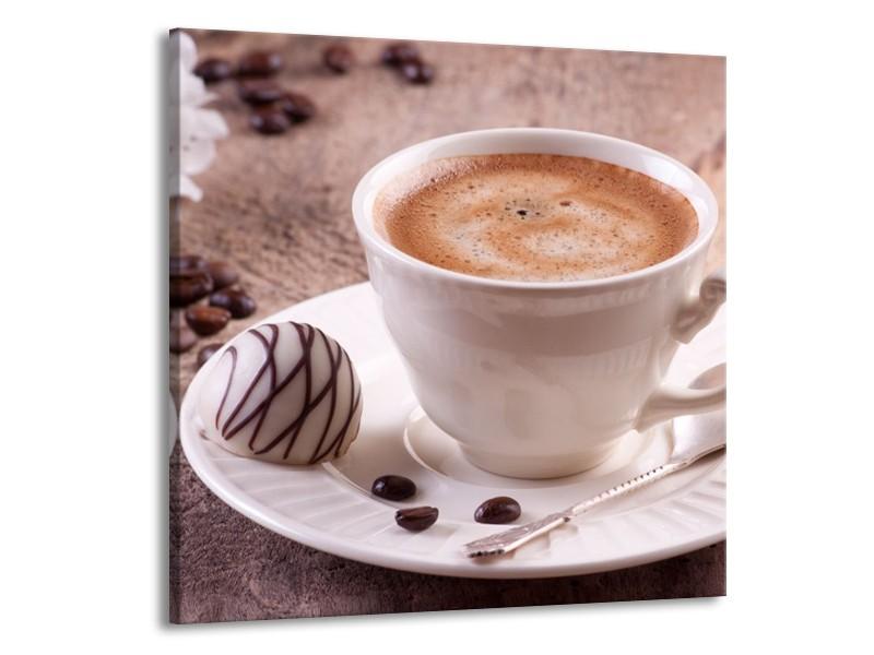 Canvas schilderij Koffie   Wit, Bruin   50x50cm 1Luik