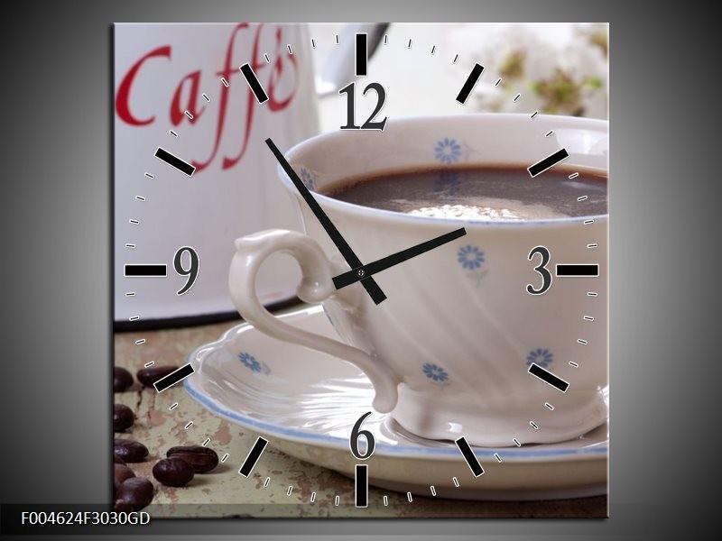 Wandklok op Glas Koffie | Kleur: Wit, Bruin | F004624CGD