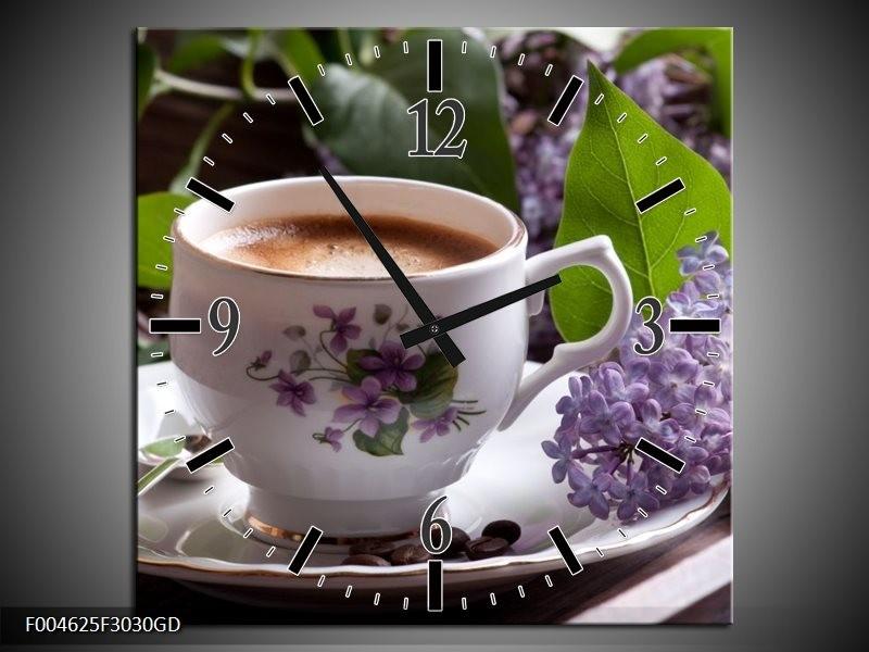 Wandklok op Glas Koffie   Kleur: Wit, Bruin   F004625CGD