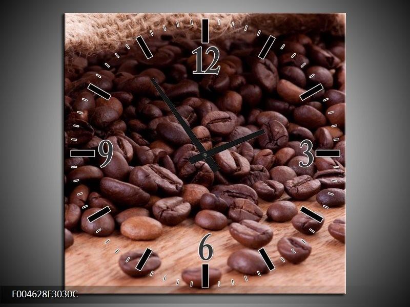 Wandklok op Canvas Koffie | Kleur: Wit, Bruin | F004628C