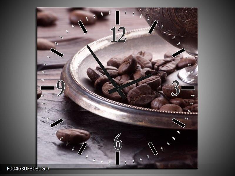 Wandklok op Glas Koffie | Kleur: Wit, Bruin | F004630CGD