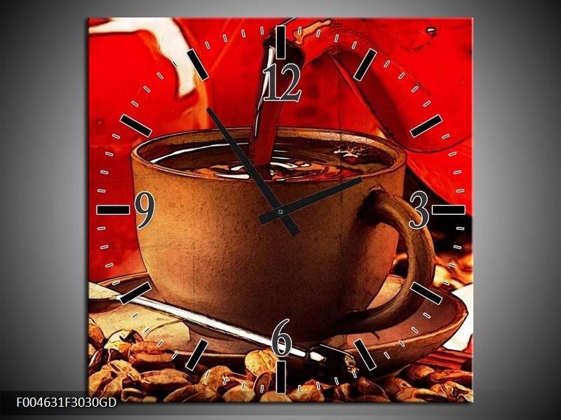 Wandklok op Glas Koffie | Kleur: Wit, Bruin, Rood | F004631CGD