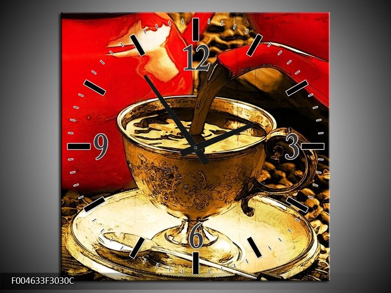 Wandklok op Canvas Koffie | Kleur: Rood, Goud, Bruin | F004633C