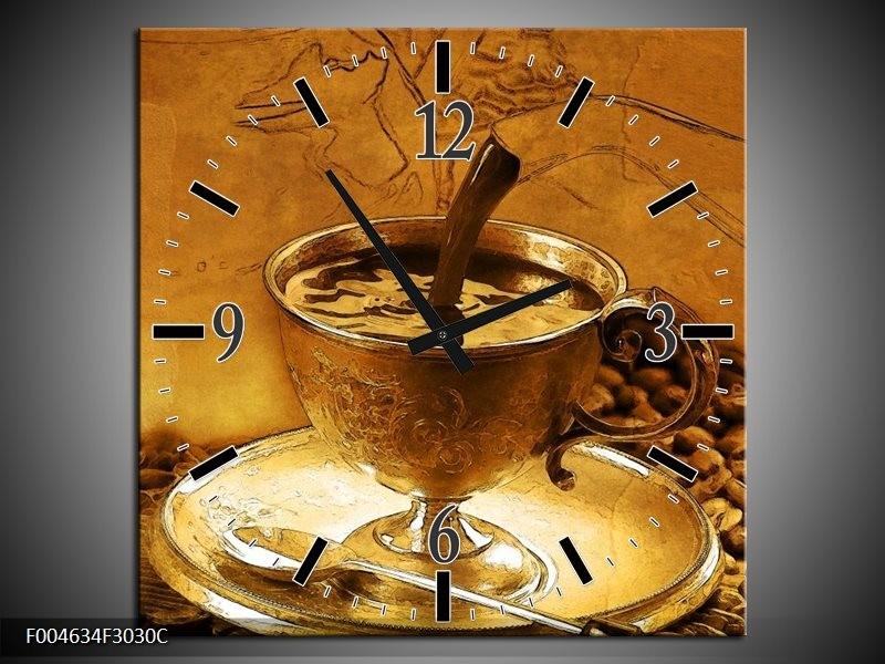 Wandklok op Canvas Koffie | Kleur: Bruin, Geel | F004634C