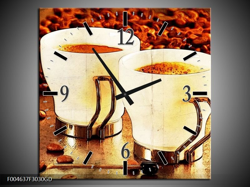 Wandklok op Glas Koffie | Kleur: Bruin, Geel | F004637CGD
